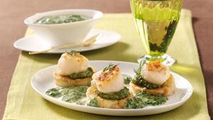 Pfanni recipe |  Scallops with spinach sauce